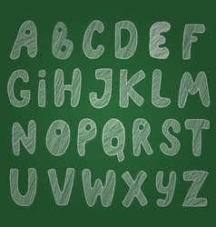 Awesome sketch chalk alphabet on blackboard vector