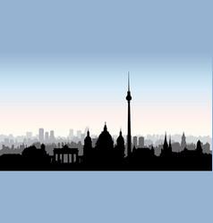 berlin city buildings silhouette german urban vector image