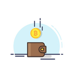 bitcoin drop into the brown wallet vector image