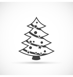 Christmas tree icon flat vector image vector image