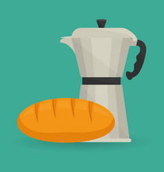 Coffee maker pot bread breakfast vector