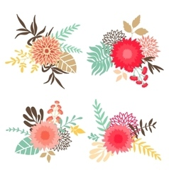 Collection of bouquets with flowers and leaves vector image vector image