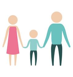 Color silhouette pictogram parents with a boy vector