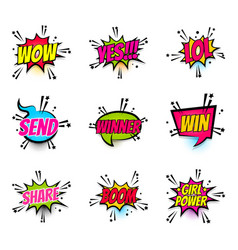 Comic text speech bubble pop art set girl power vector