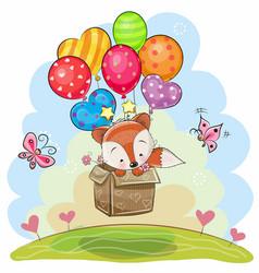 cute cartoon fox with balloons vector image