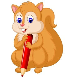 Cute squirrel cartoon holding pencil vector