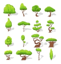 Fantasy green trees set vector