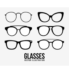 Fashion glasses object icon set vector image
