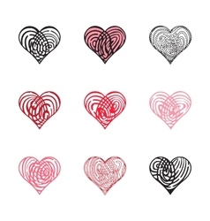 Fingerprint heart collection vector