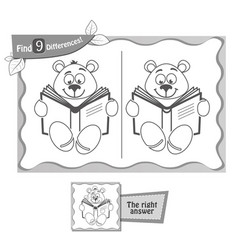 Game black find 9 differences teddy bea vector