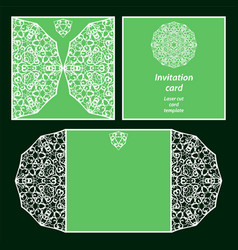 Green invitation card vector