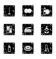 House cleaning on weekends icons set grunge style vector