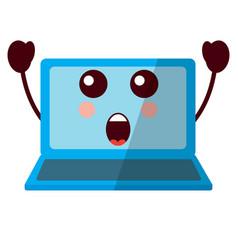 Laptop computer kawaii character screen vector