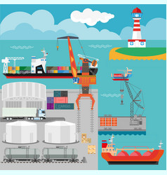 Logistics in port infographics template vector