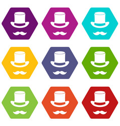 magic black hat and mustache icon set color vector image