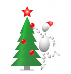 man decorate Christmas fur tree vector image