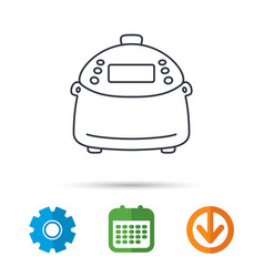 multicooker icon kitchen electric device symbol vector image