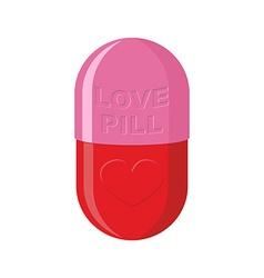 Pill love heart symbol Pink Tablet for love vector image vector image