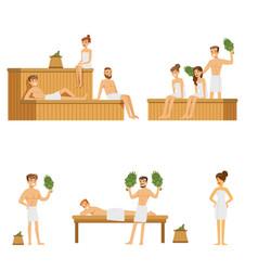 Sauna and steam house loving people enjoying hot vector