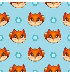 Seamless pattern with funny fox faces vector