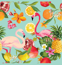 seamless tropical fruits and flamingo pattern vector image