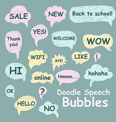 Set of doodle speech bubbles on a green background vector image vector image
