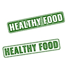 Set of green Healthy Food rubber stamp vector image