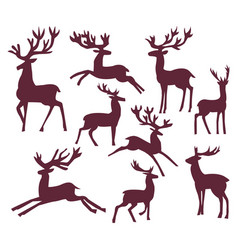 set of silhouette deer character vector image vector image