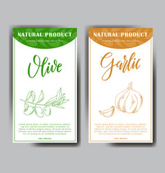 Set of stickers with hand drawn vegetarian vector