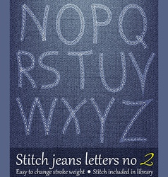 Stitched Jeans Letters 2 vector image vector image