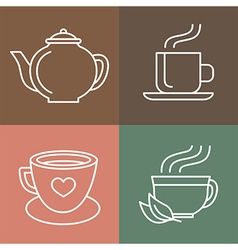 tea and coffee logos vector image vector image
