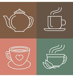 Tea and coffee logos vector