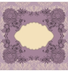 Template for greeting card with frame vector image vector image
