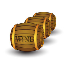 Three wooden barrels with label wine vector