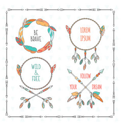 Tribal boho style frames with inspirational vector