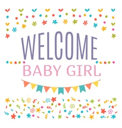 Welcome baby girl shower card Arrival card vector image vector image