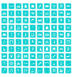 100 mirror icons set grunge blue vector