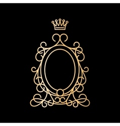 Golden vintage oval frame with crown vector image