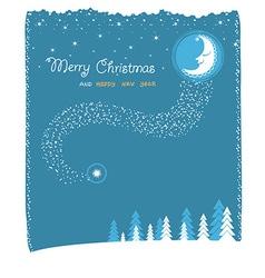 Nice moon and stars christmas card vector
