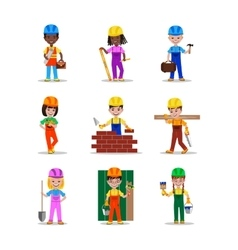 Kids builders characters vector