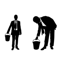 businessmen silhouettes with buckets vector image