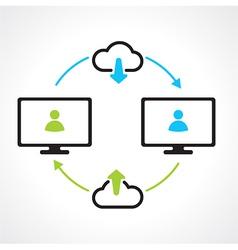 cloud download compuert icons vector image