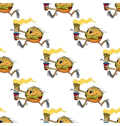 Cute seamless pattern of a running hamburger vector image