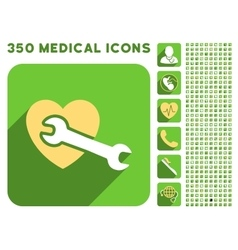 Heart surgery icon and medical longshadow icon set vector