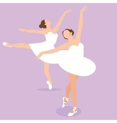 Ballerina girl ballet pose dance action perform vector