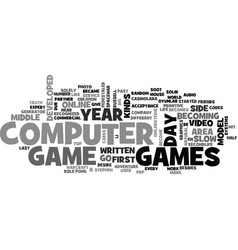 A computer and video games text word cloud concept vector
