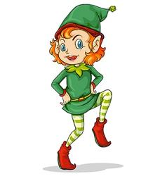 A playful Santa elf vector image vector image