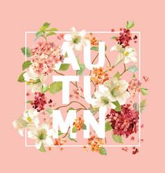 Autumn hortensia flowers background design vector