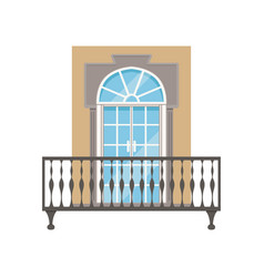 Balcony with wrought iron railing classical house vector