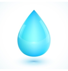 Blue realistic water drop isolated on white vector image